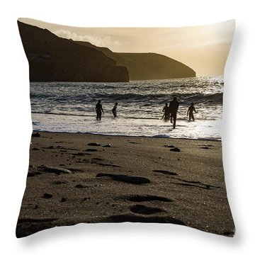 Throw Pillow featuring the photograph Photographs Of Cornwall Trevellas Cove Cornwall by Brian Roscorla