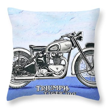 Triumph Tiger 100 Throw Pillow