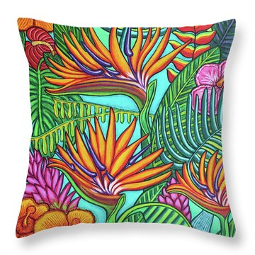 Tropical Gems Throw Pillow