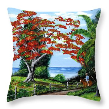 Tropical Landscape Throw Pillow by Luis F Rodriguez