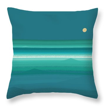 Throw Pillow featuring the digital art Tropical Sea Moonrise by Val Arie