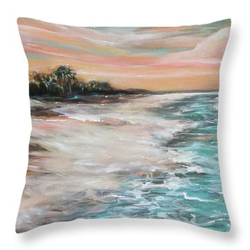Tropical Shore Throw Pillow by Linda Olsen