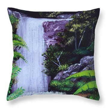 Tropical Waterfall Throw Pillow by Luis F Rodriguez