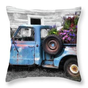 Truckbed Bouquet Throw Pillow