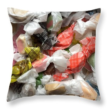 Tuck's Salt Water Taffy Throw Pillow by Patricia E Sundik