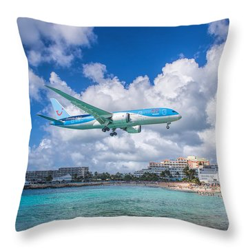 Tui Airlines Netherlands Landing At St. Maarten Airport. Throw Pillow by David Gleeson