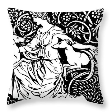 Tuiren With Bran And Sceolan From The Birth Of Bran Throw Pillow