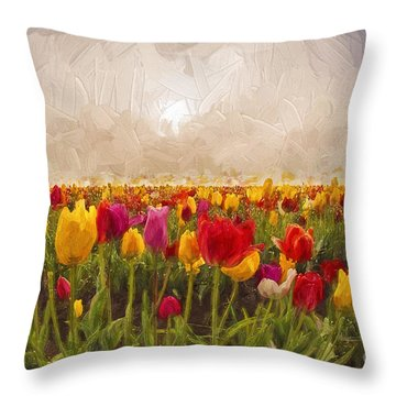Tulip Field Throw Pillow by Billie-Jo Miller