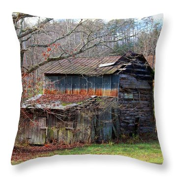 Tumbledown Barn Throw Pillow by Kathryn Meyer