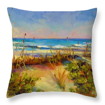 Throw Pillow featuring the painting Turquoise Tide by Chris Brandley