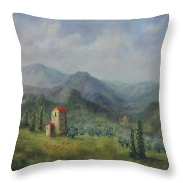 Throw Pillow featuring the painting Tuscany Italy Olive Groves by Katalin Luczay