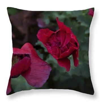 Twilight Poppies Throw Pillow