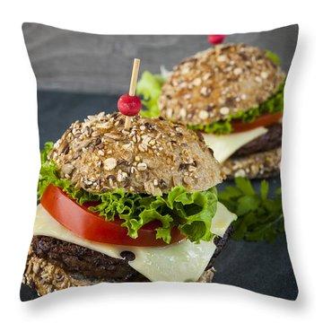 Two Gourmet Hamburgers Throw Pillow