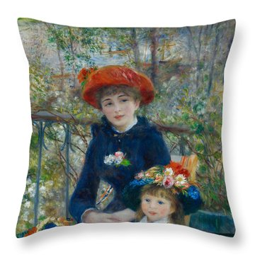 Two Sisters On The Terrace Throw Pillow