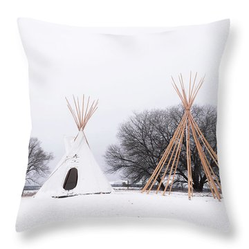 Two Tipis Throw Pillow