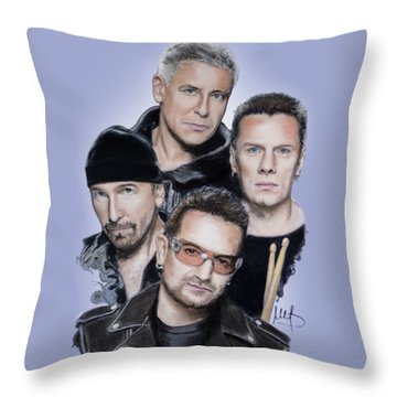 U2 Throw Pillow by Melanie D