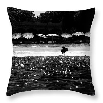Throw Pillow featuring the photograph Umbrellas by Nik West