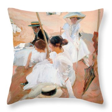 Under The Awning, On The Beach At Zarauz Throw Pillow