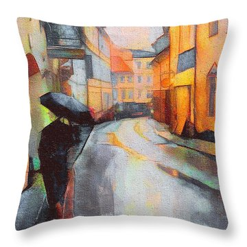 Under The Rain Throw Pillow