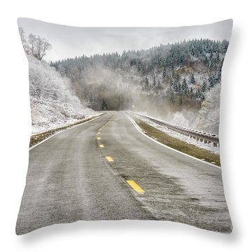 Throw Pillow featuring the photograph Unexpected Autumn Snow Highland Scenic Highway by Thomas R Fletcher