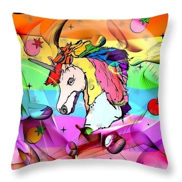 Unicorn Popart By Nico Bielow Throw Pillow by Nico Bielow