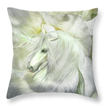 Throw Pillow featuring the mixed media Unicorn Rose by Carol Cavalaris
