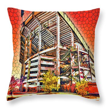 University Of Maryland - Byrd Stadium Throw Pillow by Stephen Younts
