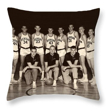 University Of Michigan Basketball Team 1960-61 Throw Pillow by Mountain Dreams