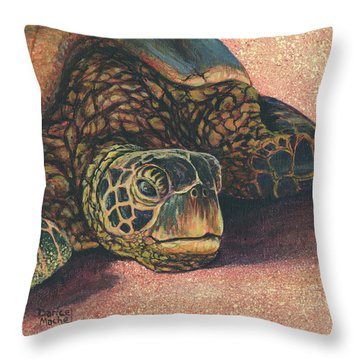 Throw Pillow featuring the painting Honu At Rest by Darice Machel McGuire