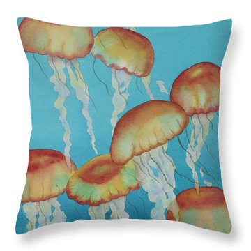 Throw Pillow featuring the painting Upwardly Mobile by Judy Mercer