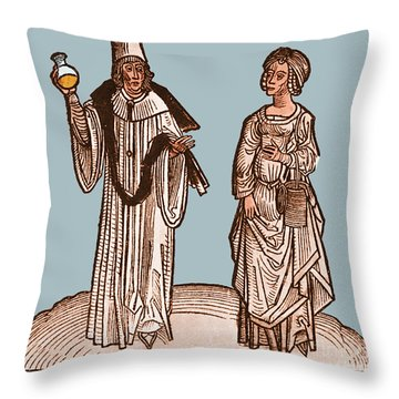 Uroscopy, 15th Century Throw Pillow by Science Source