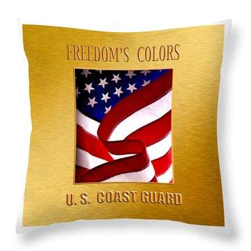 U.s. Coast Guard Gold Throw Pillow