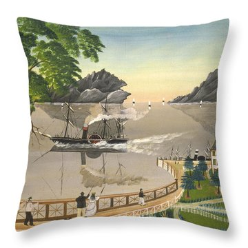 U S Mail Boat Throw Pillow