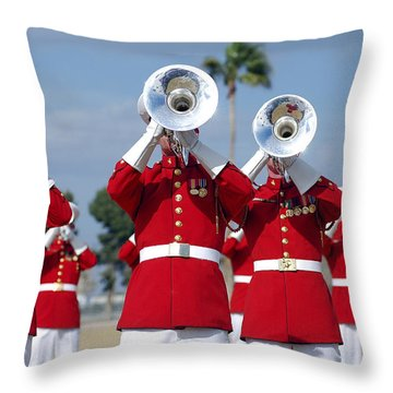 U.s. Marine Corps Drum And Bugle Corps Throw Pillow by Stocktrek Images