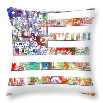 Usa Flag 13 Throw Pillow