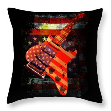 Usa Strat Guitar Music Throw Pillow