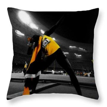 Usain Bolt Photo Finish Throw Pillow