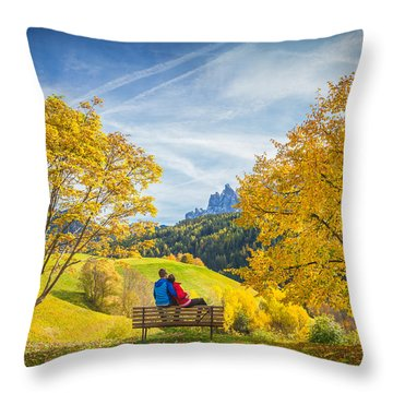 Val Di Funes, Italy Throw Pillow