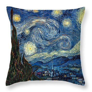 Throw Pillow featuring the painting Van Gogh Starry Night by Granger