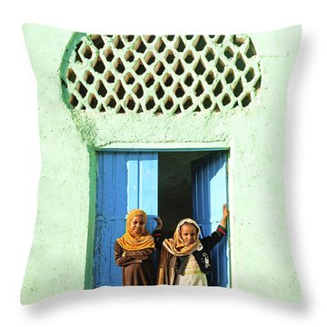 Veiled Children By Mosque In Harar Ethiopia  Throw Pillow