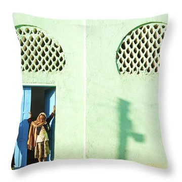 Veiled Girls By Mosque In Harar Ethiopia Throw Pillow