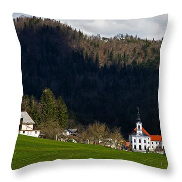 Velesovo Monastery In Adergas Throw Pillow