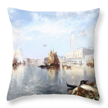 Venetian Grand Canal Throw Pillow by Thomas Moran