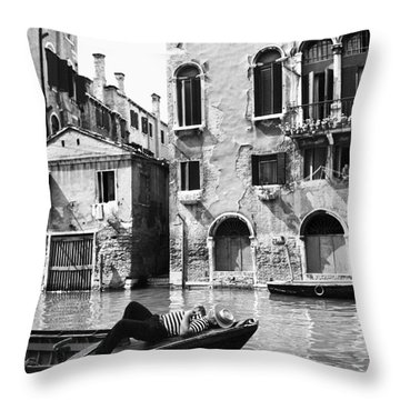 Throw Pillow featuring the photograph Venice Canal, 1969 by Granger