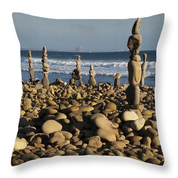 Ventura River Rock Art Throw Pillow