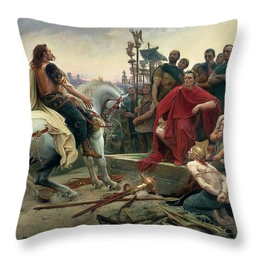 Vercingetorix Throws Down His Arms At The Feet Of Julius Caesar Throw Pillow