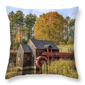 Throw Pillow featuring the photograph Vermont Grist Mill by Edward Fielding