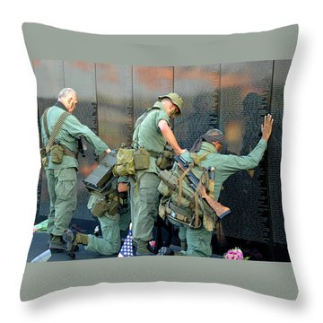 Throw Pillow featuring the photograph Veterans At Vietnam Wall by Carolyn Marshall