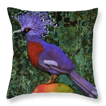 Throw Pillow featuring the painting Victoria Crowned Pigeon On A Mango by Leah Saulnier The Painting Maniac