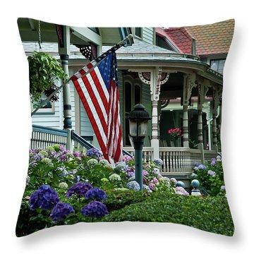 Victorian House And Garden. Throw Pillow by John Greim